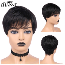 цена на HANNE Hair Pixie Cut Wigs Short Human Hair Wigs Wavy Wig Brazilian Remy Hair Free Part Wig for Black/White Women