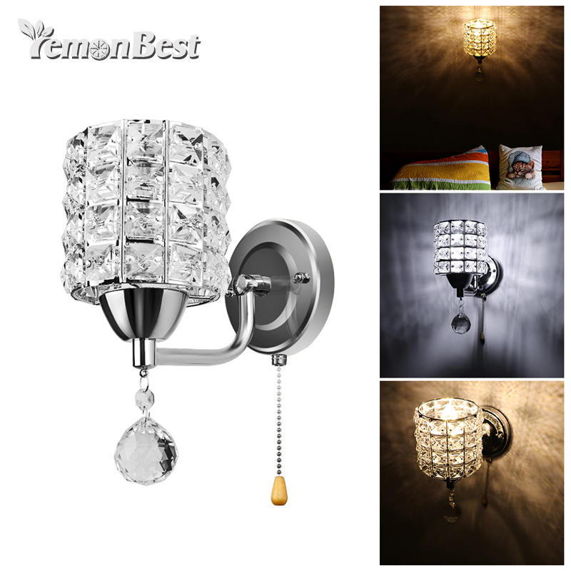 Modern Wall Lamp Crystal Wall Hanging Crystal Lamp Pendant Wire Switch AC 85-250V E14 Socket (Not Including Light Bulb)