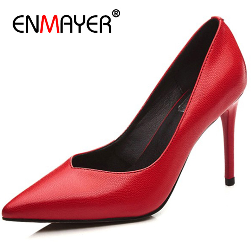 ENMAYER High Heels Pointed Toe Pumps Plus Size 34-42 Party&Wedding Shoes Woman Slip-on Genuine Leather Women Shoes bowknot pointed toe women pumps flock leather woman thin high heels wedding shoes 2017 new fashion shoes plus size 41 42