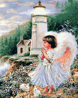 Hot Selling Home Decor Diy Oil Painting Frameless Pictures Digital Painting By Numbers Little Angel Wishing