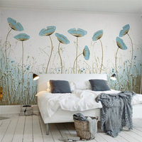 Custom Wallpapers Modern Wallpapers Large 3d Simple Aesthetics Painting Mint Green Flowers Nordic Style TV Background