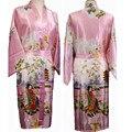 O Envio gratuito de Rosa das Mulheres Chinesas Seda Rayon Robe Kimono Bath Vestido Camisola Tamanho Sml XL XXL XXXL W2S008