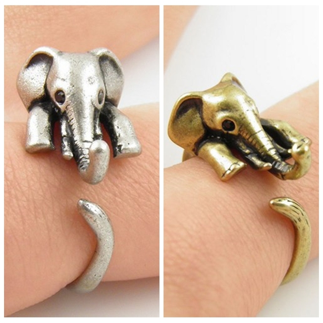 2016 New Elephant Animal Ring in Antique Silver and Bronze color for Woman Unique Rings JZ301