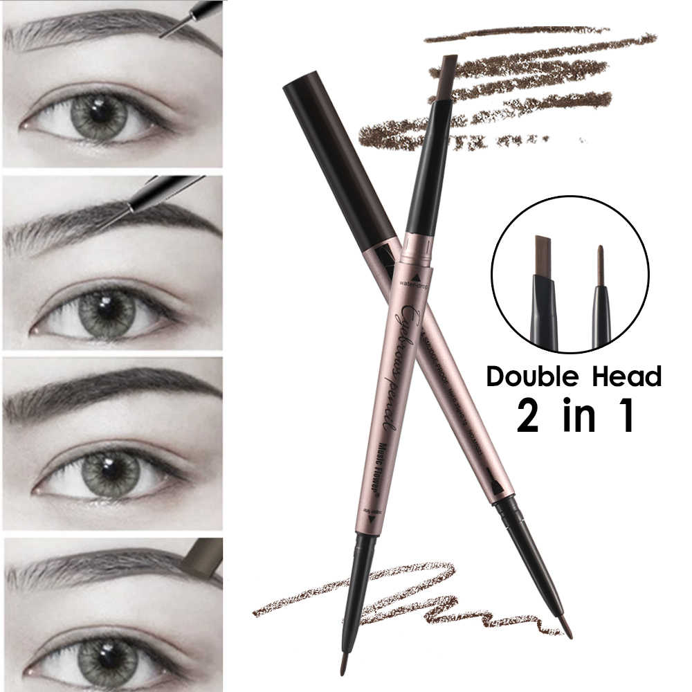 1PC 4Color Durable Makeup Double Head Eyebrow Pen Natural Fine Sketch Waterproof Tattoo Super  Eye Brow Pencil Smudge-proof Tool