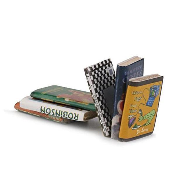 Mini Wooden Books For Doll House 6 pcs Set