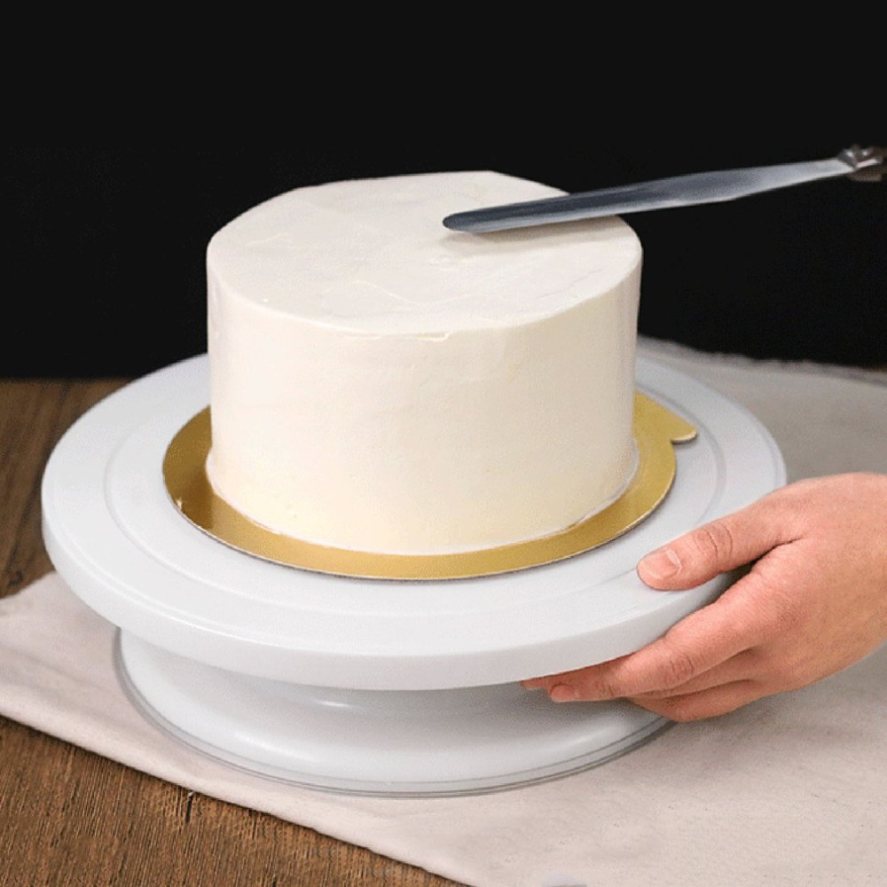 27cm Plastic Round Cake Stand Turntable Rotating Cake ...