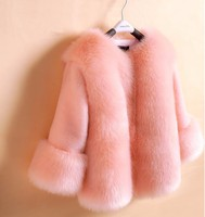 girls faux fur coats little girl pink jacket with Fur O Neck Children's Faux Fox Fur clothes Long Sleeve Soft Fur winter coats