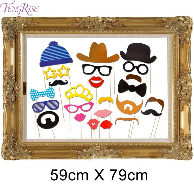 Fengrise 24 Pieces Photo Booth Props Vintage Wedding Antique Picture Frame Decoration Birthday Party Funny Photobooth