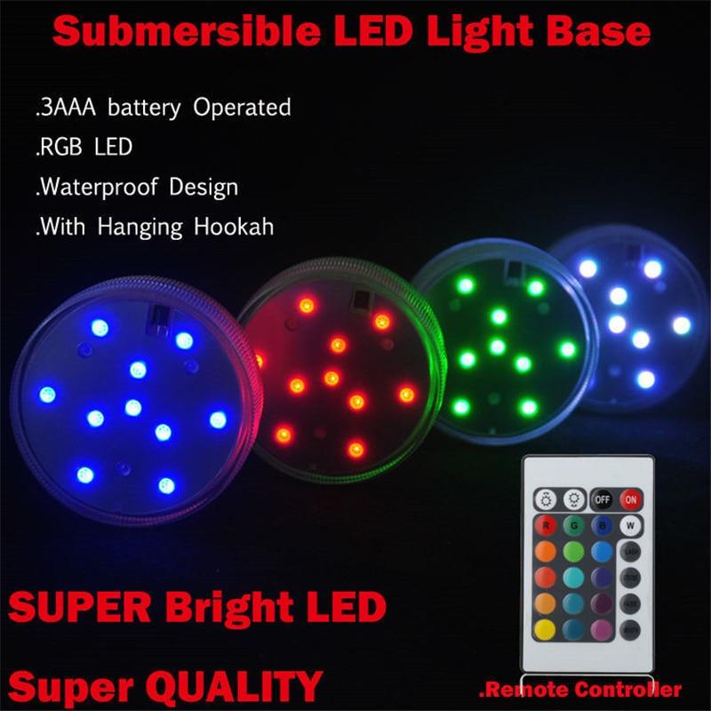 (20 komada / puno) 7cm daljinski upravljani šarenilo RGB mini LED svjetlo baza za pušenje stakla Shisha Hookah svjetlo