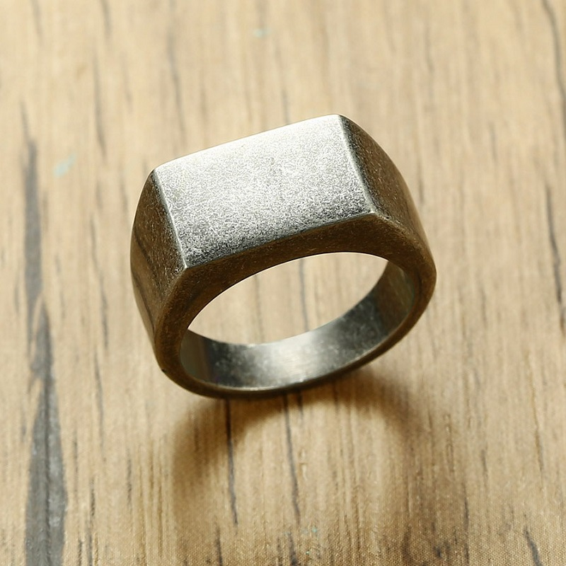 Fashion Vintage Ring Men Stainless Steel Male Classic Gray Color 10mm Ring Simple Jewelry Man Rings For Cool Boy Wholesale