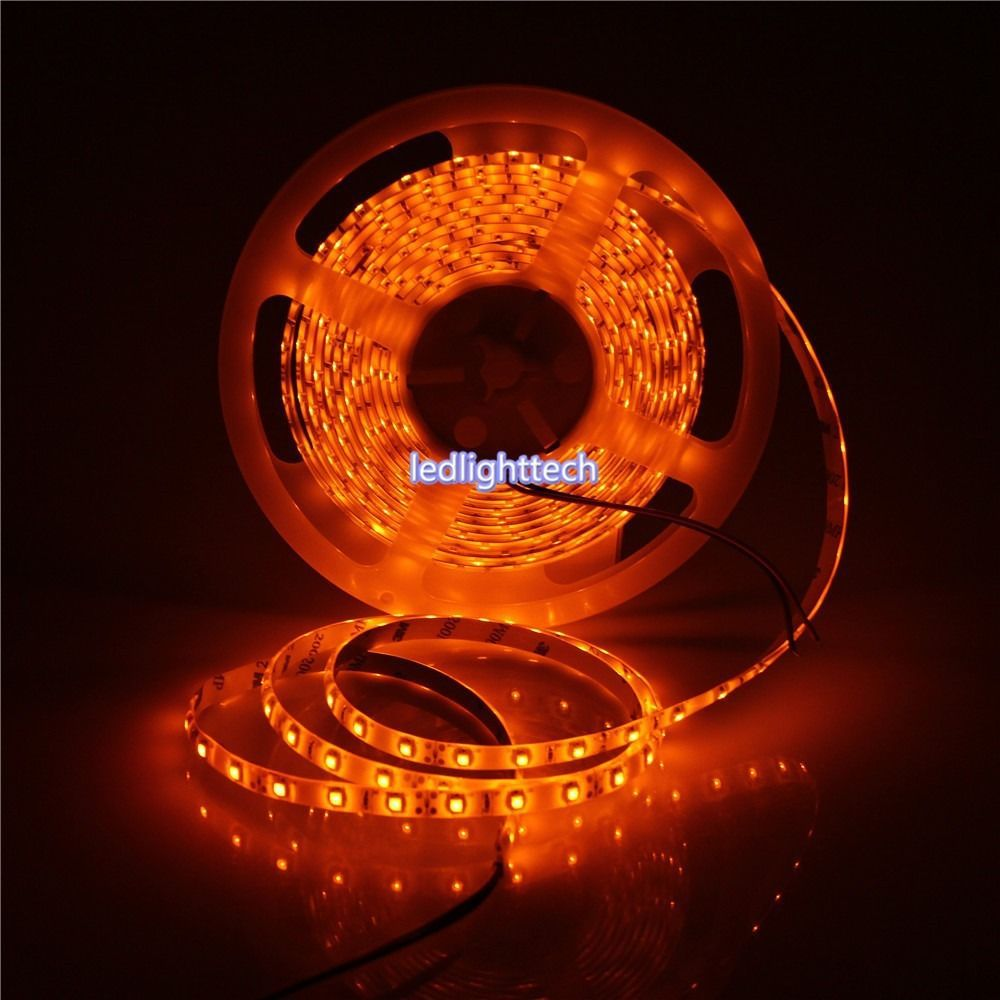 premium selection dac06 23c92 US $11.27 6% OFF|5M Orange Color SMD 3528 flexible LED Strip Light White  Black PCB 60leds/m 120leds/m not yellow non waterproof/waterproof 12V-in  LED ...