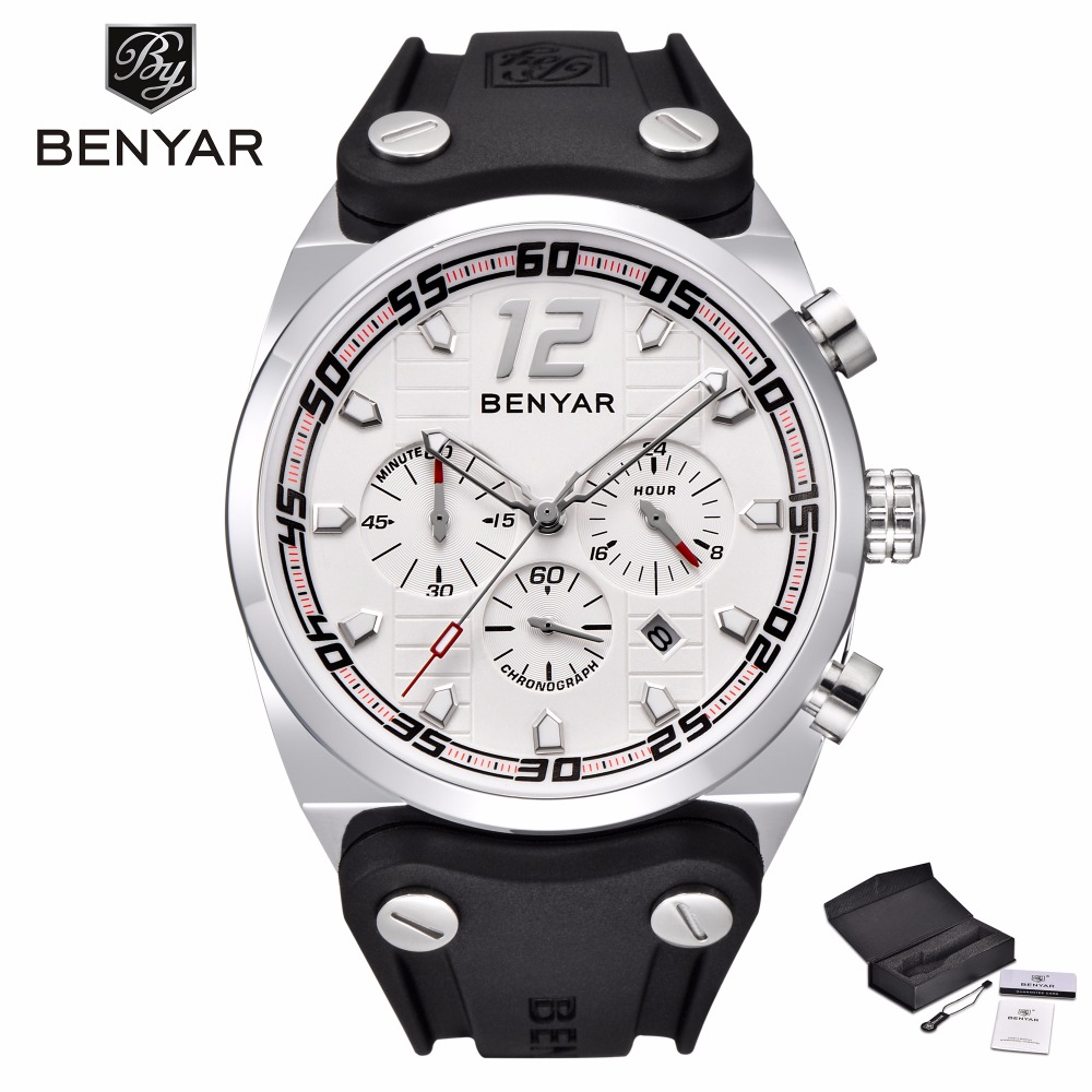 BENYAR Big Dial Silicone Sport Watch Men Military Waterproof Chronograph Mens Watches Top Brand Luxury Male Clock relojes hombre minifocus stylish sport mens watches seiko chronograph wristwatch for men popular black and blue silicone chain clock male