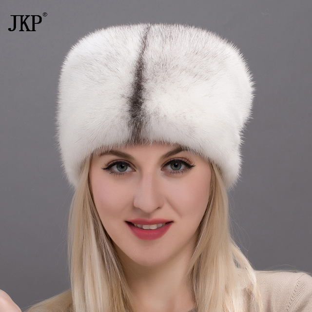 2019 Hot  New autumn and winter Elegant All Real Mink Fur Hats For Women Fur cap High Quality Solid Female  DHY17-27