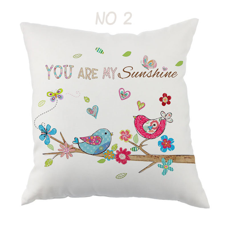 Valentines Day Gift Home Office Decorative LOVE Printe Pillow Cove Owl and Bird Printing Cushion cover