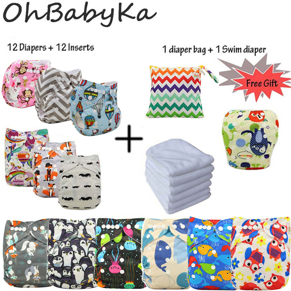 Ohbabyka Reusable Baby Pocket Cloth Diapers Washable Adjustable Nappy Changing 12pcs 12pcs Microfiber Inserts 1Free Diaper