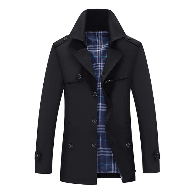 Mens Trench Coats Male Slim...