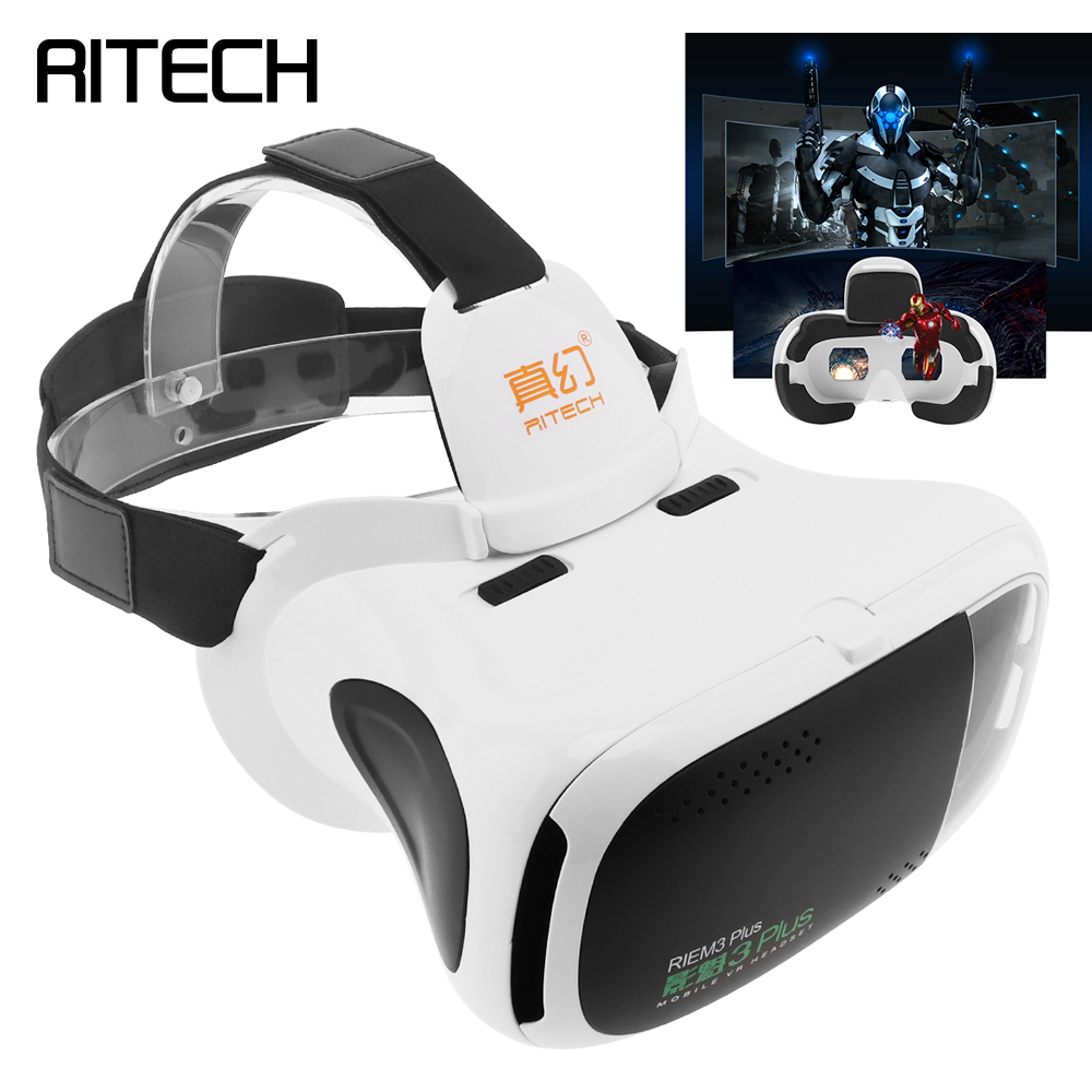 RIEM3 Plus ABS Head-mounted 3D Virtual Reality VR Glasses With AR Function and Buffer Sponge for 4.7 – 6 Inch Phone Smartphone