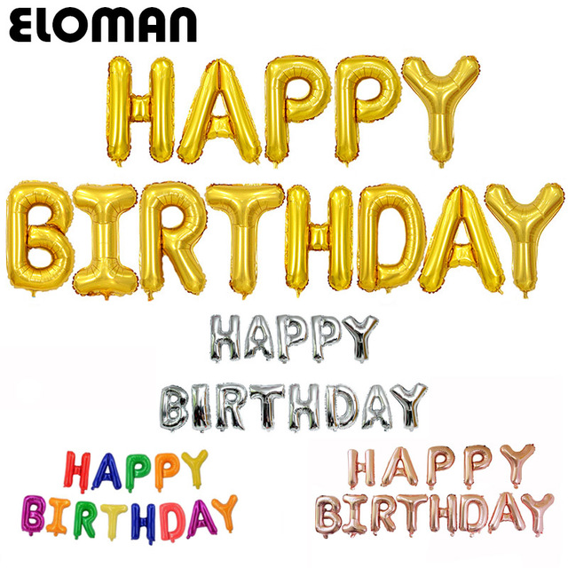 eloman can hanging happy birthday foil letter balloons single package gold silver champagne color