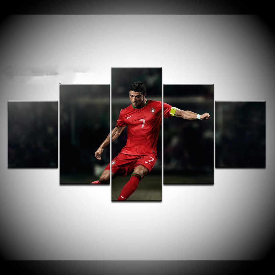 5 paneles enmarcado impreso Cristiano Ronaldo deporte pared carteles impresión en lienzo arte pintura para el hogar Sala decoración arte