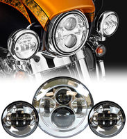 7 Chrome LED Projector Daymaker Headlight Passing Lights For Harley Breakout Electra Glide Softail Touring Motorcycle