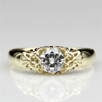 Round 0 8ct Lab Grown Diamond Legent Of Zelda Style 14k Yellow Gold Engagement Ring Esdomera