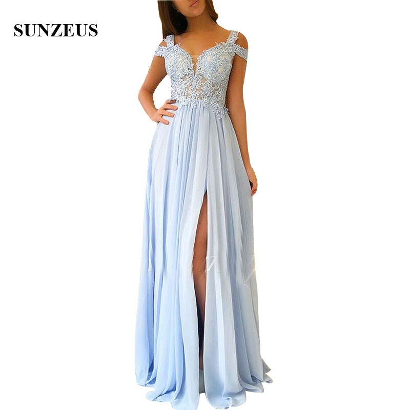 Appliques Illusion Bodice Sexy Summer Bridesmaid Dresses Long Sky Blue Chiffon Wedding Party Gowns Side Slit Women Robe