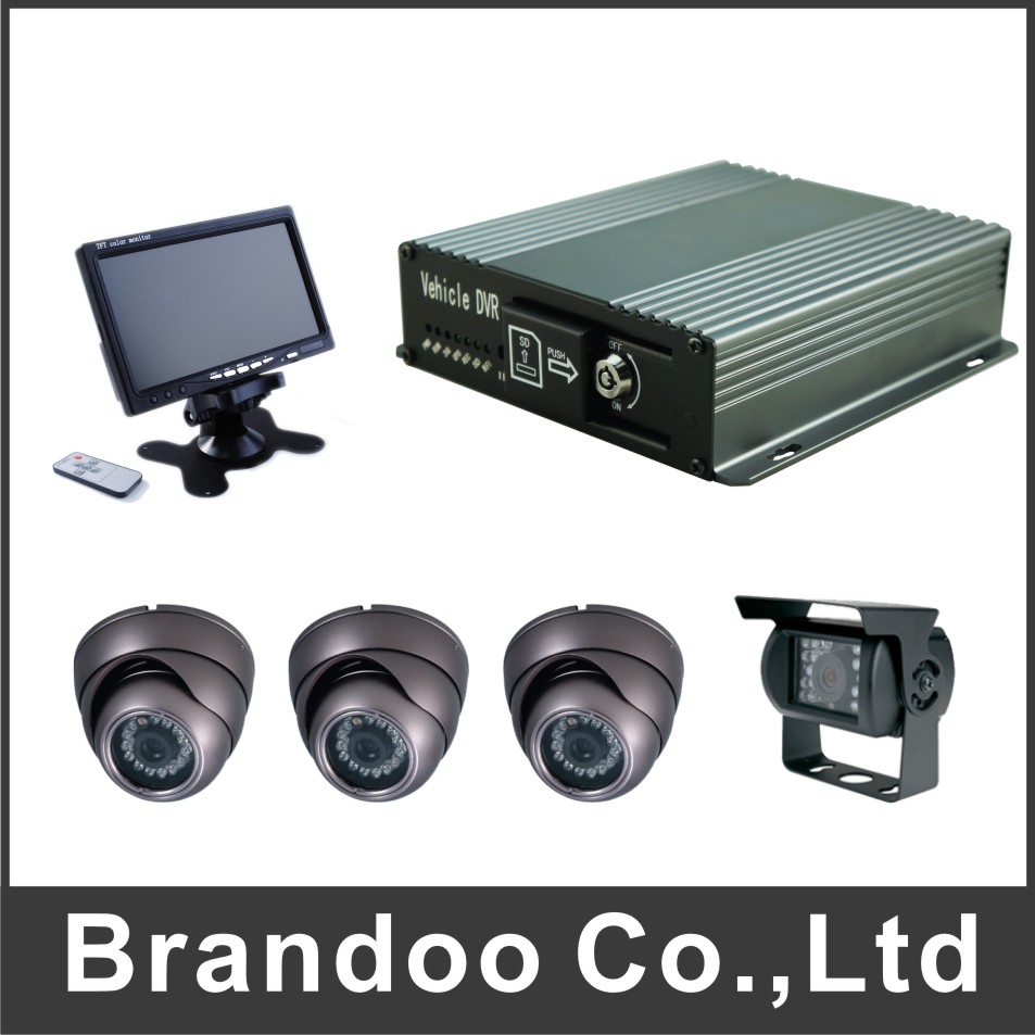 4CH SD CAR DVR+7 inch LCD monitor+3pcs inside Dome camera+1pcs outside IR camera+5 meters cables 4pcs