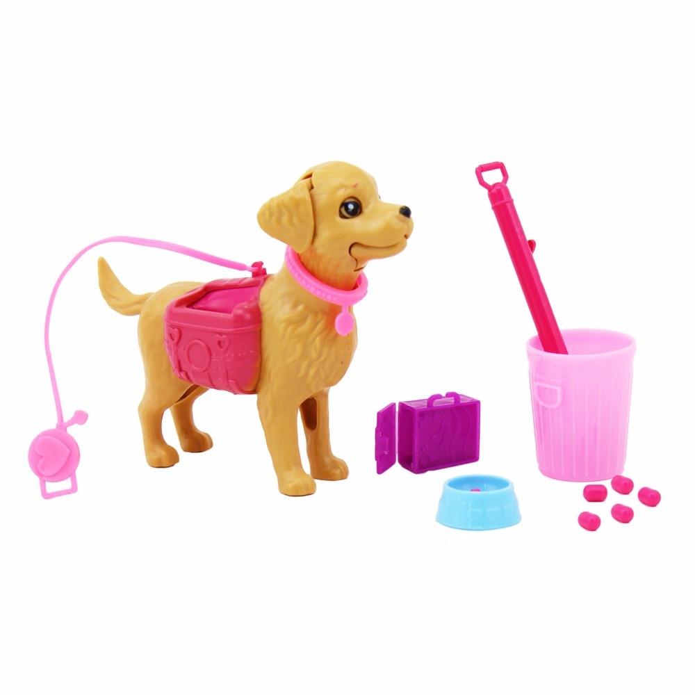 Plastic Dog Pet Sets Food Bones 1:6 Dollhouse Accessories Puppet Toy HI