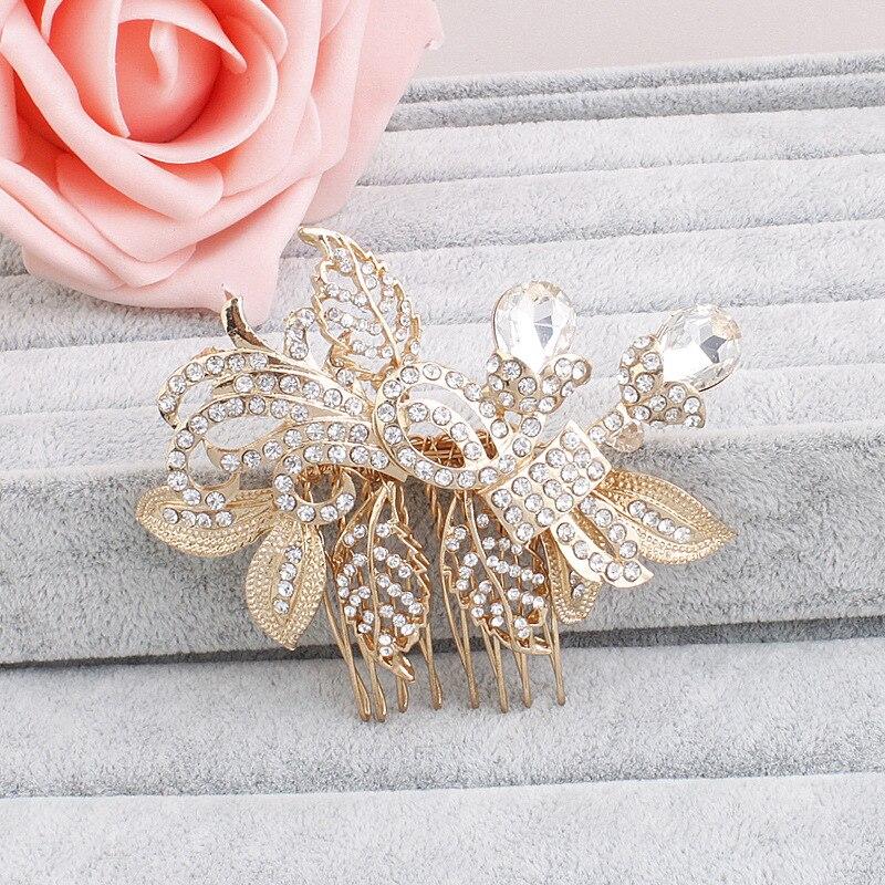 2016 Gold Leaves Rhinestone Wedding Headpiece Generous Bridal Hair Comb Accessories Women Jewelry