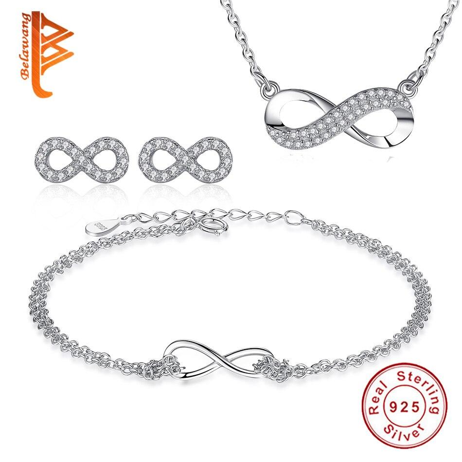 BELAWANG Véritable 100% 925 Sterling Argent Infinity Série Bijoux Ensembles avec Clear Cristal De Luxe Bijoux Cadeau pour les Femmes