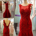 New Arrival  A line Lace Elegant Evening Dress 2017 Custom Made Open Back Long Evening Gown robe de soiree GX17
