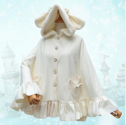 ФОТО Sweet Harajuku White Women's Hooded Poncho Jacket Thick Rabbit Ear Winter Cloak for 2016