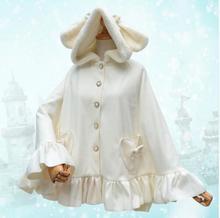Sweet Harajuku White Women's Hooded Poncho Jacket Thick Rabbit Ear Winter Cloak for 2016
