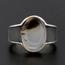 Anillo de plata 925 ovalado para hombre, piedra especial Vintage, anillo de dedo personalizado para hombres, joyería de moda