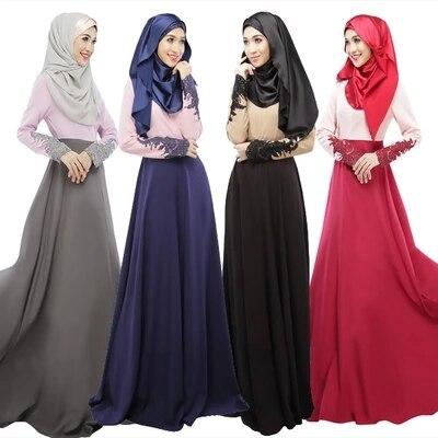 Fashion Long Gown Muslim Abaya Jilbab Islamic Muslim Women Sleeve Headkerchief Vintage Islamic