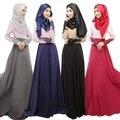 Moda Vestido Largo Musulmán Abaya Jilbab Islámico Musulmán Mujeres Pañoleta de Manga Vestido de los Musulmanes Ropa Islámica de La Vendimia Femenina