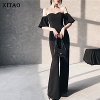 [XITAO] Women 2019 Summer Fashion Slash Collar Short Sleeve Loose Full Length Pants Female Solid Color Kidney Jumpsuit XJ1020
