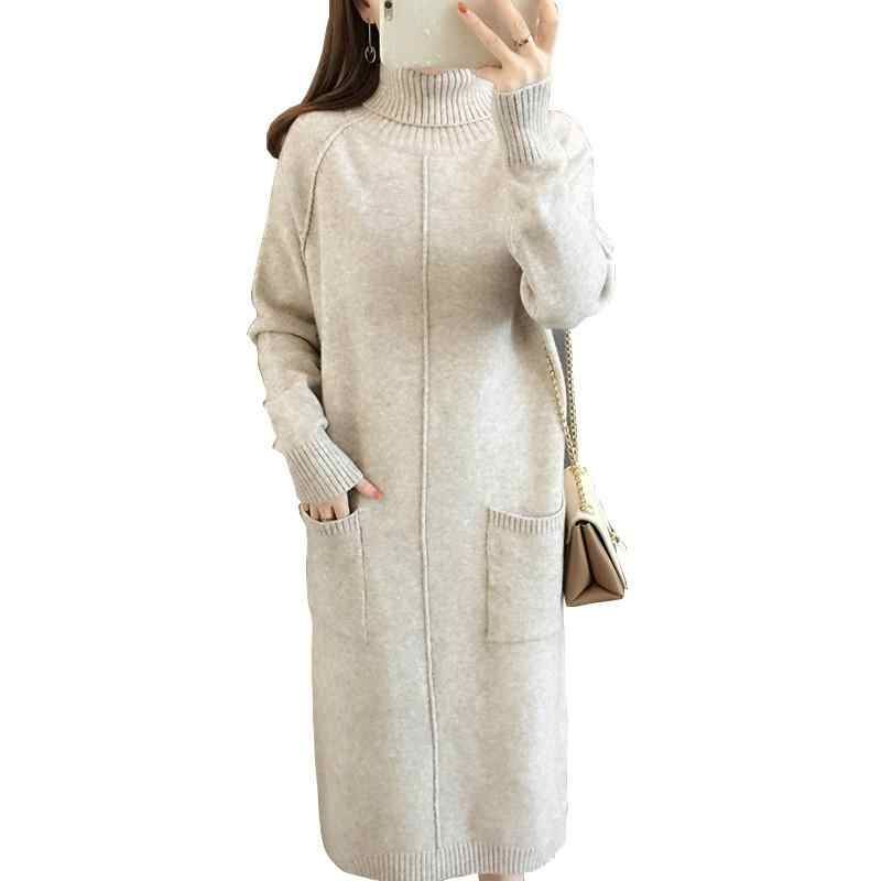 Women Winter New Casual Slim Long Knitted Sweater Dress Female Turtleneck Pullover Dresses Ladies Thick Warm Dress Vestidos V372