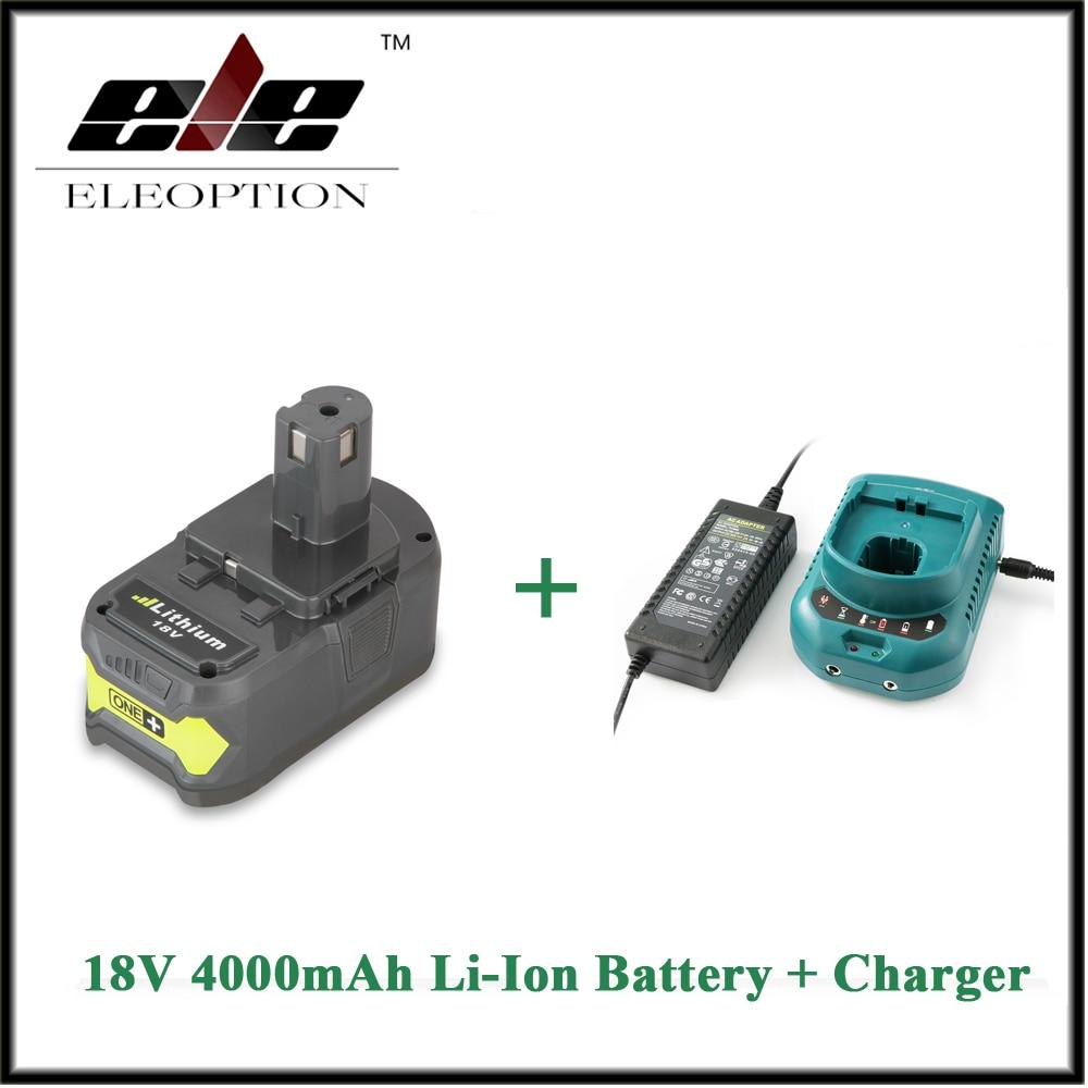 ФОТО ELEOPTION 18V 4000mAh Li-Ion Rechargeable Battery Power Tool Battery For Ryobi P108 RB18L40 + Charger For 12-18V Ryobi Battery
