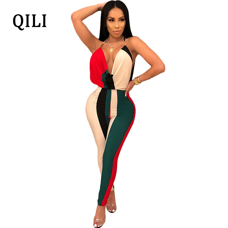 QILI Sexy Backless Halter Jumpsuits Woman V-neck Striped Patchwork Sleeveless Jumpsuits Romper Party Club Bodycon Jumpsuit