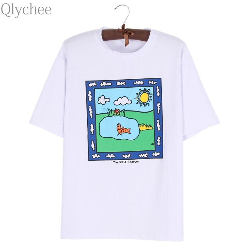Qlychee Cartoon T-shirt Fisch Muster der Freien Natur Brief Drucken Tops Frauen Sommer Casual Kurzarm O Neck Tees