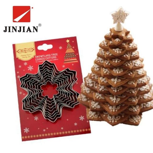 JINJIAN 9 pz Taglierina Del Biscotto Di Natale Strumenti In Lega di Alluminio Fi