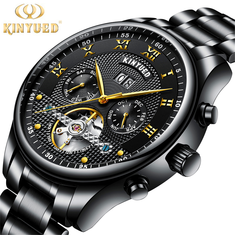 KINYUED Brand Men Self-wind Waterproof Stainless Steel Strap Automatic Mechanical Male Black Dial Fashion Tourbillon Watch mce brand men self wind waterproof leather strap automatic mechanical male black white dial fashion tourbillon watch men clock
