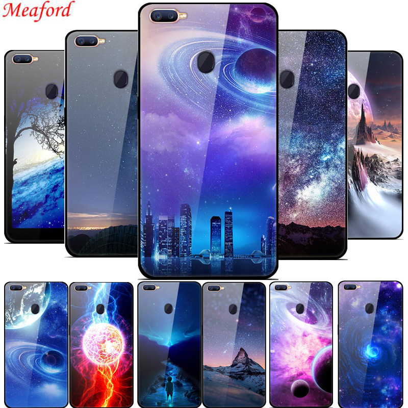 For OPPO F9 case tempered glass fashion 3D painted hard PC back cover case for OPPO F9 phone case soft silicone TPU frame bumper