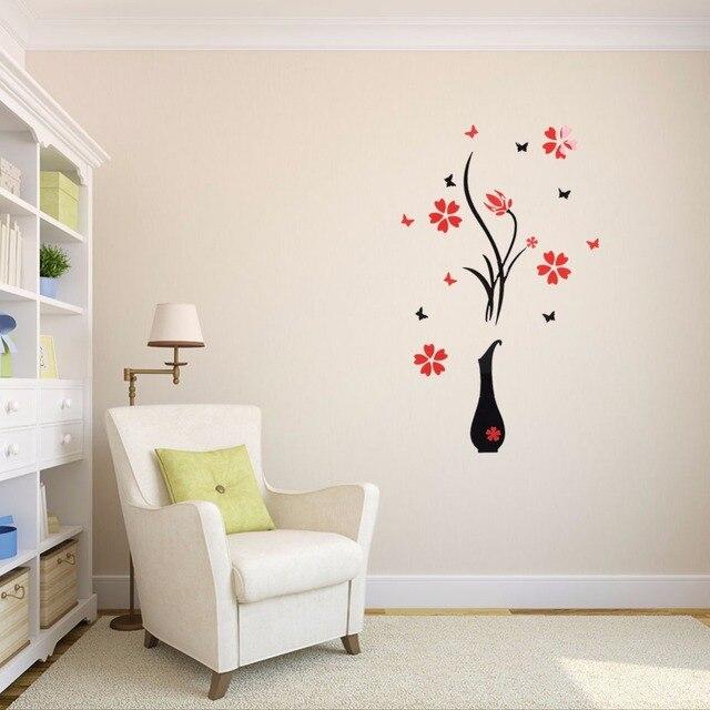 Aliexpress.com : Buy Removable 3D Art Vase Flower Plum Tree Wall ...