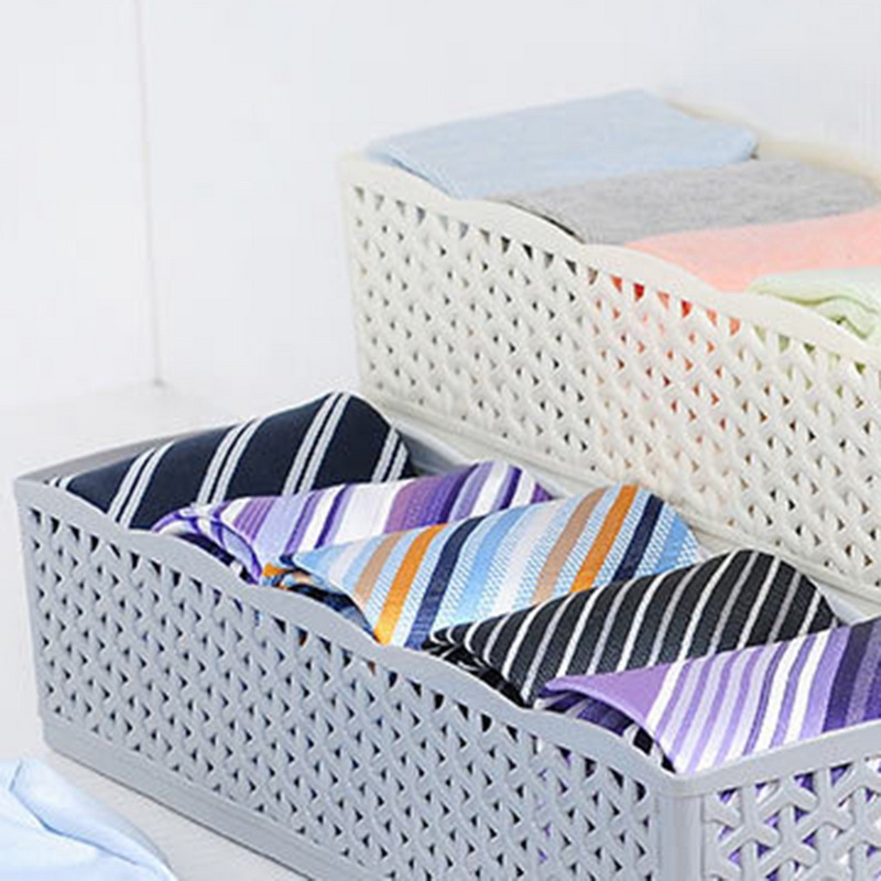 Image 5 - 5 Grids Storage Basket Wardrobe Organizer Women Men Storage Box For Socks Underwear Plastic Container Makeup Organizer hot A3072-in Storage Baskets from Home & Garden
