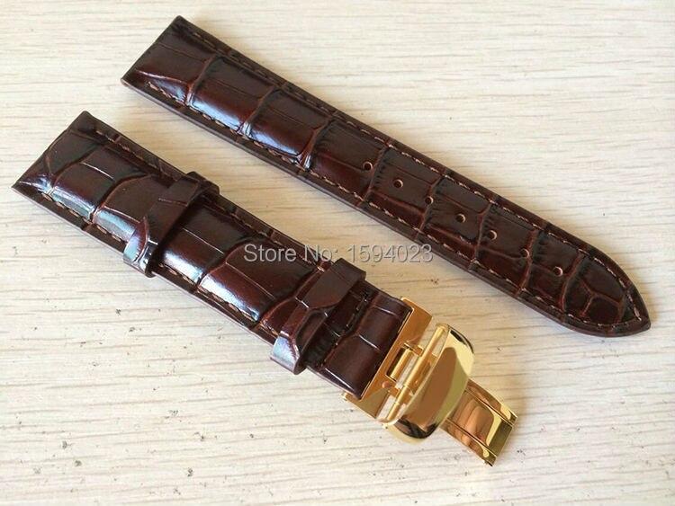 20mm (Buckle18mm) T019430 Alta Qualidade Banhado A ouro Pin Fivela + Brown Genuine Leather Assista Bandas Strap