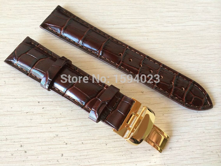 20mm (Buckle18mm) T019430 Kualitas Tinggi emas Disepuh Pin Buckle + Brown Kulit Asli Watch Bands Strap