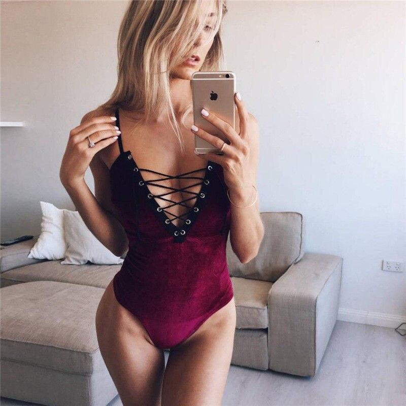 Honey New V Neck Overalls Slim Cami Catsuit Body Velvet Backless Strap Bodysuit Women Lace Up Jumpsuit Romper Women's Clothing