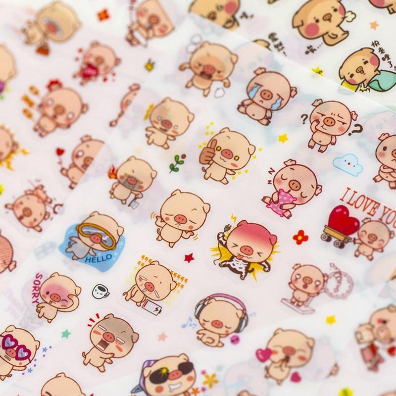 6 Pcs Bag New Cute animal pig font b pet b font child paper sticker package